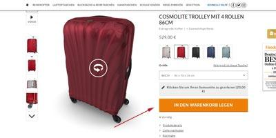 Artikel bei Samsonite in den Warenkorb legen